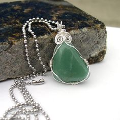 Green Quartz Necklace Wire Wrapped Pendant by beadloverskorner