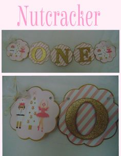 The Nutcracker ballet is the perfect for your holiday celebration in accents of pale pink, pink and gold metallic.  This listing is for Nutcracker high chair banner. Perfect for your little ones high chair or use as a banner for photo prop. Letters are gold glitter card stock and shadowed in metallic gold. The end squares include a ballerina, nutcracker and tree, all accented with rhinestone embellishments.  Additional items pictured are available but not included in this listing…
