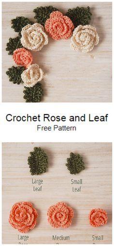 Crochet Leaf Free Pattern, Crochet Flower Tutorial, Crochet Flower Patterns, Crochet Art, Crochet Stitches Patterns, Cute Crochet, Crochet Crafts, Crochet Flowers, Easy Crochet Flower