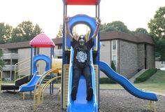 black metal playground slide