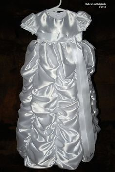 *Available in: White or Ivory  * Choose the W/Headband option to include the Isabella Headband.  https://www.etsy.com/listing/120172654/isabella-headband  This beautiful heirloom quality full length Princess Style Christening Gown was designed and handmade by Debra Lee Originals. Debra uses a deliberate mixing and matching of fabrics, colors and textures for elegant charm, style and comfort. The Isabella is made with exquisite 100% all natural soft cotton under s...