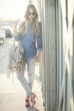 Polka dot pants with chambray. Great way to wear an all denim outfit!