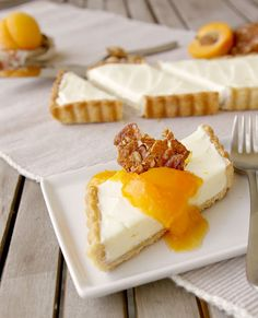 Honey Mascarpone Tart with Almond Crust, Apricot Compote, and Almond Glass.