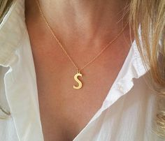 Gold letter necklace Initial necklace gold Personalized