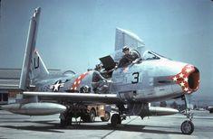 North American USMC North American FJ-2 Furys of VMF-235 at MCAS El Toro, CA 1954.