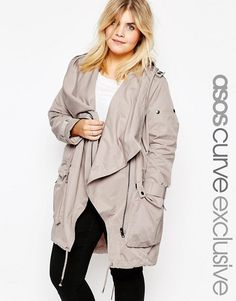 74b069010a ASOS Curve | ASOS CURVE Parka with Waterfall and Storm Flap Plus Size  Outfitek, Asos