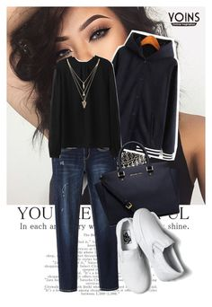 """Yoins- Navy Hoodie ♥"" by av-anul ❤ liked on Polyvore featuring MICHAEL Michael Kors, Vans, Forever 21, yoins and yoinscollection"