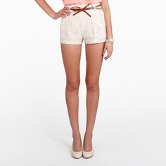 lace bow belted shorts.