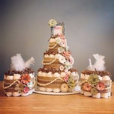 Mint & Coral rustic shabby chic diaper cake with pearls, feathers, and flower accents, shabby shower centerpiece, burlap baby shower