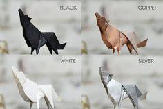 Origami-Skulptur-Wolf. Präparatoren. Dekoration von FlorigamiShop