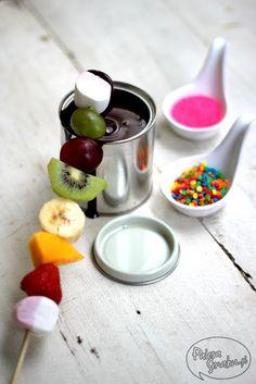 Fruit skewers + marshmallow + chocolate :)