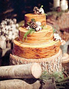 Wedding Cake of the Day: Rustic Wood Cake Wood Cake, Elegant Winter Wedding, Rustic Wedding, Wedding Ideas, Forest Wedding, Woodland Wedding, Wedding Photos, Wedding Trends, Gold Wedding