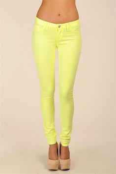 Hysteria Neon Jeans - Neon Yellow