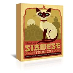 "East Urban Home Cat Siamese Vintage Advertisement on Wrapped Canvas Size: 48"" H x 32"" W x 1.5"" D"