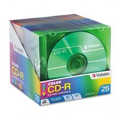 Verbatim CD-R Recordable Disc - CD-R Discs, 700MB/80min, 52x, Slim Jewel Cases, Assorted Colors, 25/Pack by Verbatim. $35.52. Storage Media. Cds. High-quality media delivers reliable recording at high speeds. Use for sharing business files, storing documents, making personal music mixes, and more. Record a full-length CD in two minutes at maximum speed. Works in most standard CD-ROM drives and CD players for added convenience. Permanent, write-once format prevents accidental ove...
