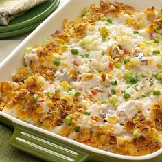 Potluck Chicken Casserole Recipe -Folks go back for seconds of this meal-in-one casserole with its down-home flavor, rich sauce and golden topping. I always bring home an empty dish. -Ruth Andrewson, Leavenworth, Washington