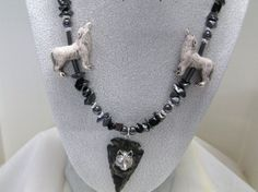 Handmade Wolf Necklace Sterling Wolf Head by DeanasQuiltsandMore, $45.00