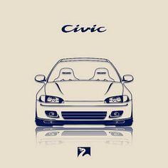 honda civic eg Honda Civic Coupe, Honda Civic Hatchback, Honda S2000, Honda Civic Si, Civic Jdm, Car Animation, Honda Accord Sport, Honda Cars, Car Illustration