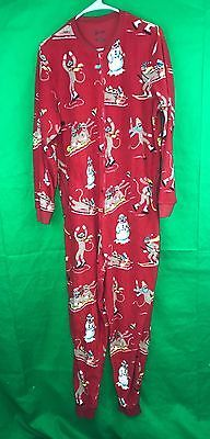 639ca8adab Nick Nora Red Sock Monkey Snowman Fleece One Piece Pajamas Size Large