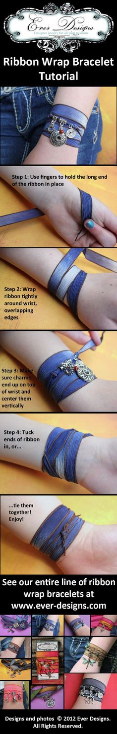 How to wear Ever Designs' famous ribbon wrap bracelets. See our entire line of silk ribbon charm bracelets at http://www.ever-designs.com