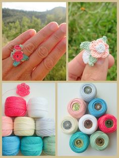 Crochet ring diy and crafts вязание, кольца và крючки. Diy And Crafts Sewing, Crafts For Girls, Crochet Crafts, Crochet Projects, Crochet Rings, Crochet Hooks, Knit Crochet, Knit Lace, Costura Vintage