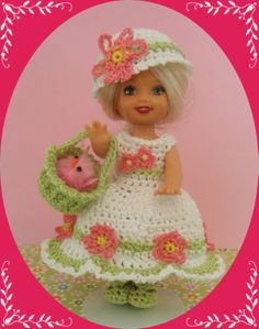 """Crochet Doll Clothes Outfit Fancy Chick 4 ½"""" Kelly Same Sized Dolls"""