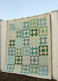 This free quilting pattern may not look like a great stash buster, but it is an excellent way to use up scraps in an interesting and appealing way. The Blueridge Churndash Quilt Pattern uses a medley of light blues and minty greens to create a color scheme that reminds you of a crisp mountain morning.