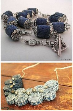 jewelry made from rolled up pieces of jeans..