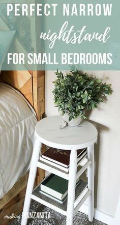 How To Upcycle A Bar Stool Into A Narrow Bedside Table - Looking for the perfect narrow nightstand for small bedrooms? Consider flipping an old bar stool in - Narrow Nightstand, Diy Nightstand, Bedside Table Ideas Diy, Small Bedside Tables, Upcycle Bedside Table, Painted Bedside Tables, Nightstands, Wood Bar Table, Quartos