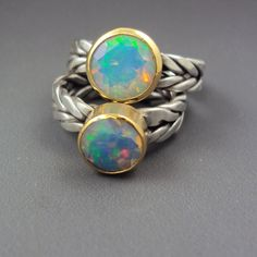 Custom Ethiopian Opal Gold & Silver Ring with by danaevansstudio