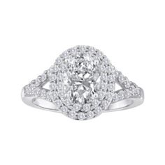 Lab-Created White Sapphire Double Halo Sterling Silver Ring  found at @JCPenney