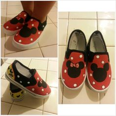 Custom painted Mickey and Minnie shoes
