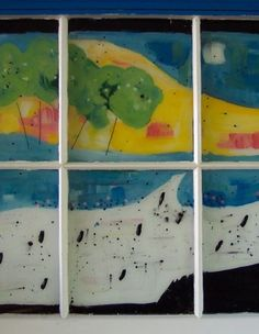 Folk artist Laura Davis makes best out of waste using salvaged windows Repurposed, Folk, Scrap, Objects, Windows, Artist, How To Make, Crafts, Painting