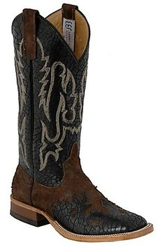 Anderson Bean Men's Brown Nasty w/ Black Crackle Wingtip Double Welt Square Toe Boot