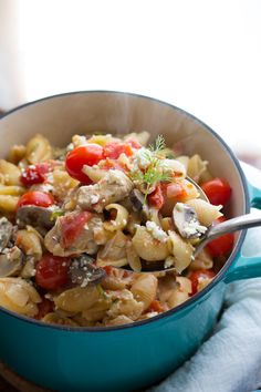 One Pot Pasta with Chicken, Feta and Dill