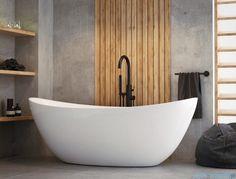 The North Bath Frigg wanna wolnostojąca + Syfon Klik-klak Kitchen Furniture, Furniture Design, Powder Room, Tiles, Sweet Home, Bathtub, Indoor, Interior Design, House