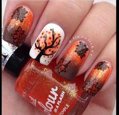 Fall leaves. Brown and orange acrylic nails.