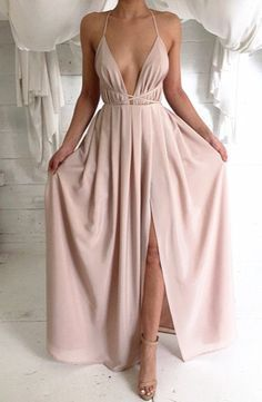 2016 New Fashion Blush Pink Split Prom Dresses With Spaghetti Straps Backless…