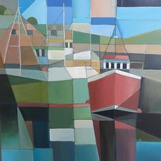Cubist - Abstract and Contemporary art by Tracey Hunter, Cornwall. Online gallery of abstract and contemporary paintings by emerging artist Tracey Hunter, features vibrant paintings of Cornish land and seascapes. Cubist Artists, Cubism Art, Seascape Paintings, Global Art, Geometric Art, Artist Painting, Contemporary Paintings, Cool Artwork, Painting Inspiration