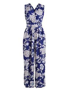 87494303bb0 Floral Print Wide Leg Palazzo Jumpsuit (Blue) Palazzo Jumpsuit