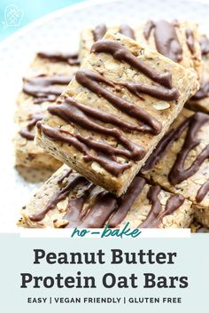 Making your own protein snack bars couldn't be any easier with this recipe! These quick, no-bake Peanut Butter Protein Oat Bars are made with oats, peanut butter, and some protein powder for an extra filling snack with 10 grams of protein in each bar. High Protein Snacks, Protein Bar Recipes, Protein Bars, Snack Recipes, Healthy Protein, Kitchen Recipes, Healthy Recipes, Healthy Bars, Healthy Desserts