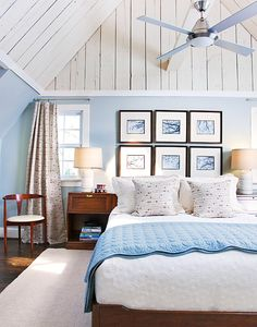 blue and white bedroom at the cottage