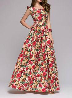 Vintage Printed Square Neck Sleeveless Floor-Length Casual Dresses(Without Belt) Women's Fashion Dresses, Casual Dresses, Prom Dresses, Dress Prom, Beach Dresses, Dress Wedding, Dress Long, Cheap Dresses Online, Dress Online