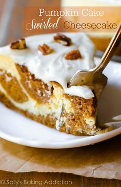 Pumpkin Cake Swirled Cheesecake.