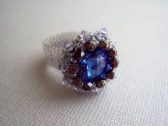 Beaded Beadwoven Swarovski Rivoli Ring Peyote by MilenasBoutique, $36.00
