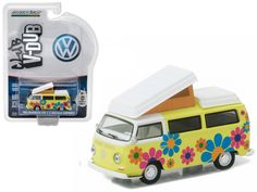 1968 Volkswagen Type 2 T2 Westfalia Campmobile Hippie Dippy Weather Van 1/64 Diecast Model by Greenlight - Brand new 1:64 scale car model of 1968 Volkswagen Type 2 T2 Westfalia Campmobile Hippie Dippy Weather Van die cast model car by Greenlight. Limited Edition. Has Rubber Tires. Comes in a blister pack. Detailed Interior, Exterior. Metal Body and Chassis. Officially Licensed Product. Dimensions Approximately L-2 1/2 Inches Long.-Weight: 1. Height: 5. Width: 9. Box Weight: 1. Box Width: 9…