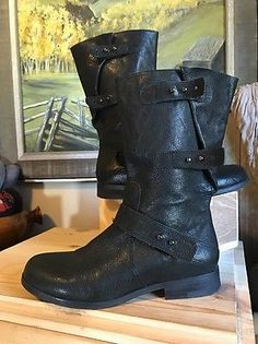 Eileen Fisher Motor Boots Size 8 Black - Mid Calf $375 Wow  | eBay