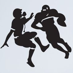 "Style and Apply Football Tackle Wall Decal Size: 46"" H x 43"" W, Color: Silver"