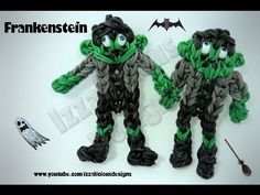 ▶ Rainbow Loom FRANKENSTEIN Figure. Designed and loomed by Kate Schultz of Izzalicious Designs. Click photo for YouTube tutorial. 04/16/14.