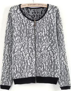 Jersey decorado cremallera manga larga-Blanco y negro EUR€24.67